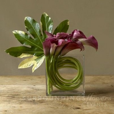 Calla lilies designed in clear vase. Also available in deep burgandy, mango, white or yellow.