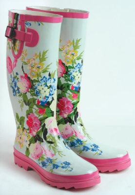 "May Day Wellies  A spray of watercolour blooms grace robin egg hued boots that transcend the garden...spotted in chic urban venues paired with lace and silk. Gift pouch. 14"" tall. Whole sizes only."