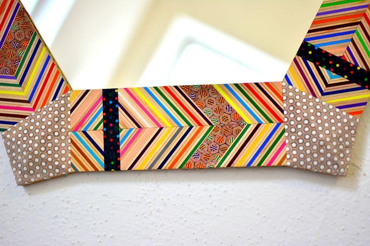 Mirror made of colored pencils - www.Carbickova.etsy.com.