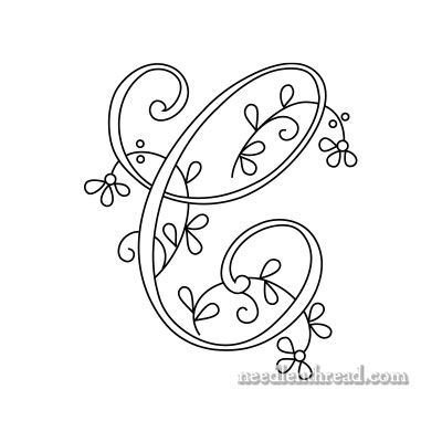 Monogram for Hand Embroidery - C - Floral