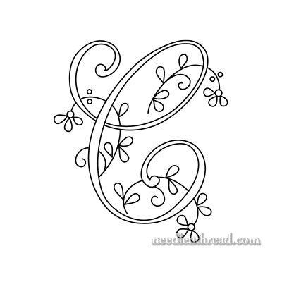 Monograma para bordados à mão - C - Floral
