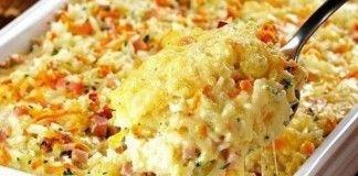 Nejlepší pečená rýže se sýrem a šunkou!