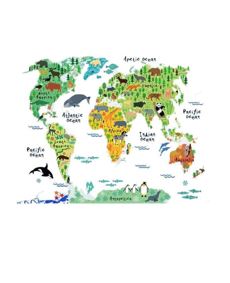 Sticker educativ pentru copii - Harta lumii pentru copii