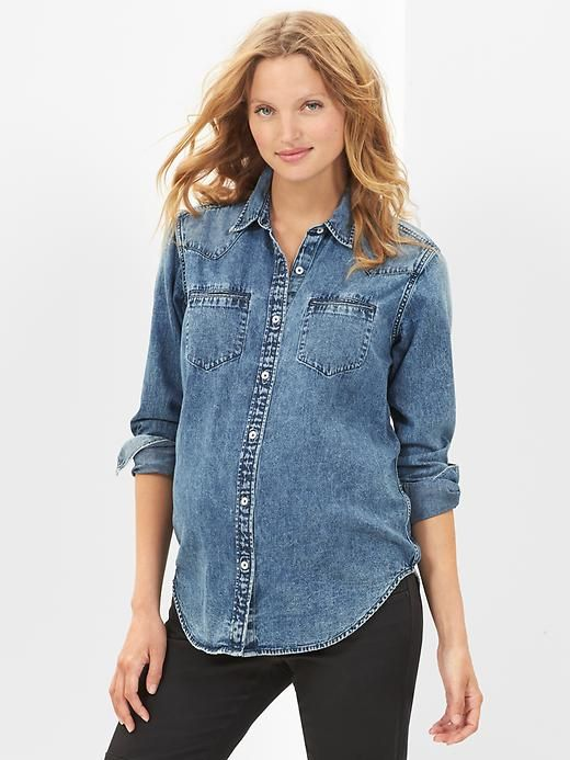 Denim Maternity Shirt from Gap: Gap Maternity, Denim Westerns, Maternity Fashion, Icons Denim, Boyfriends Shirts, Baby Bump, Denim Shirts, Gap Icons, Maternity Clothing