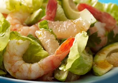 Shrimp Salad    Why it's a power salad: Just a small serving of avocado contains filling monounsaturated fat, which has a belly-flattening bonus. Combine that with low-cal, protein-packed shrimp, and you have a satisfying lunch or dinner.