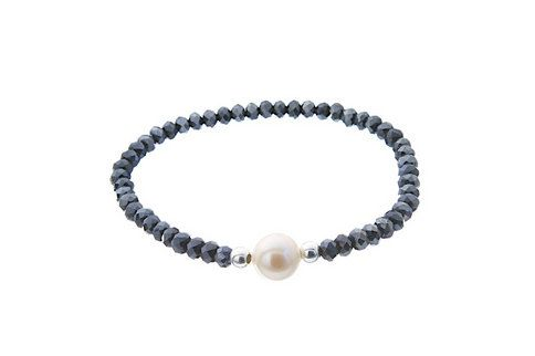 Dark blue natural stone bracelet with white pearl - Colors: Brown, Golden or blue - Elastic bracelet - 925 Silver -Hand made in Spain by CuchiCuchiSHOP on Etsy