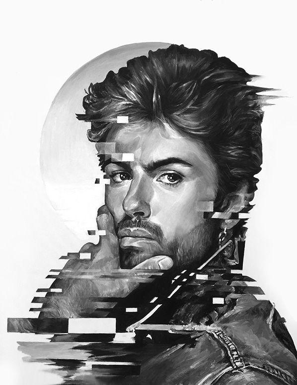 #georgemichael, george michael  painting, art, acrylic, contemporary,  modern, minimalism, portret, black and white  geometrical,  George Michael
