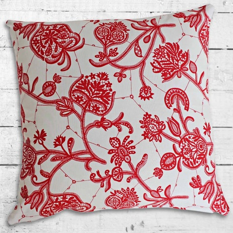 Cushions from Cushionopoly - Paisley Rouge cushion cover.
