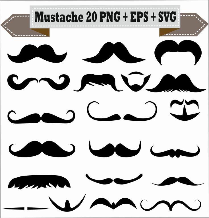 Mustache Styles Meme Emoji Beard Goatee Silhouette Vector Clipart PNG EPS Set Digital Files Scrapbook Supplies Clip Art Instant Download by VectorArtShop on Etsy