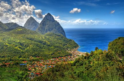 The island of St. Lucia.  This pic has the famous twin peaks in the background.  Nice island, but I like the vibe of St. Kitts a little better.