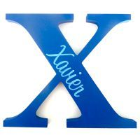 Personalised Wooden Letters - Blue / Blue Water