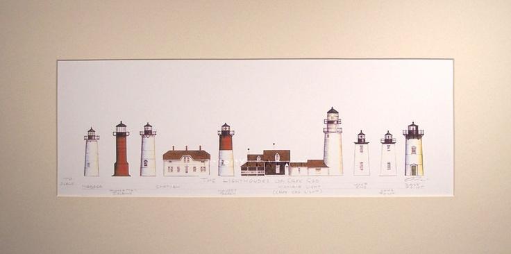 "Lighthouses of Cape Cod Art Signed Robert Kline 10"" x 20"" Matted Print Nautical Decor. $30.00, via Etsy."