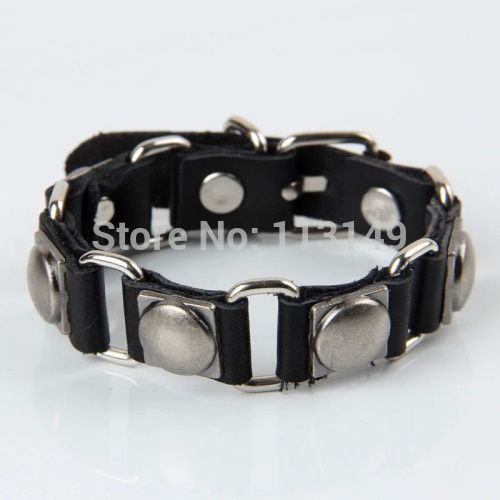 Free Shipping Birthday Gift Men's Antique Silver Plated Metal Round Rivet Stud Black Leather Bracelet LB-HF097
