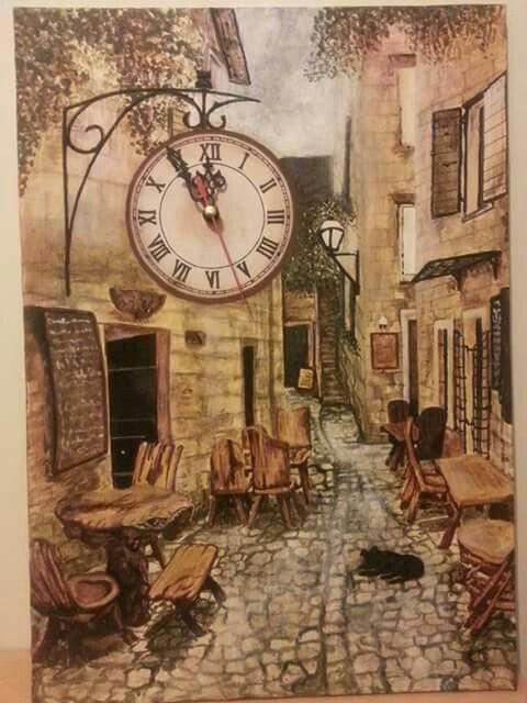 35*50 tuval akrilik el boyama  Sokak cafe saat calisiyor