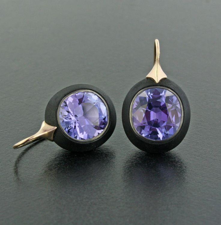 Tanzanite, Ebony Wood and 18K Rose Gold Ear Pendants by James de Givenchy #Taffin #JamesdeGivenchy #Earring