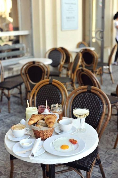 petit déjeuner a Paris! eggs, croissants, café au lait and champagne