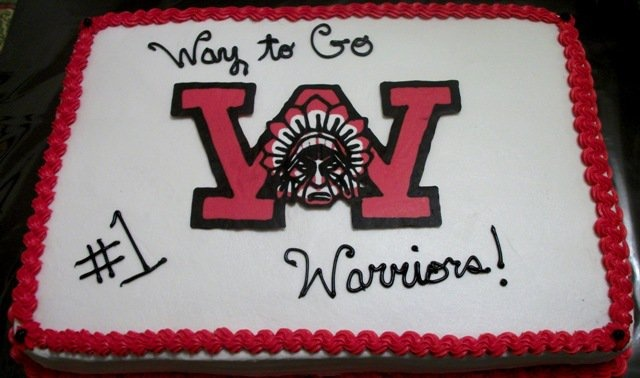 Wayne Warrior (made from chocolate) cake I made for my son's wrestling banquet.