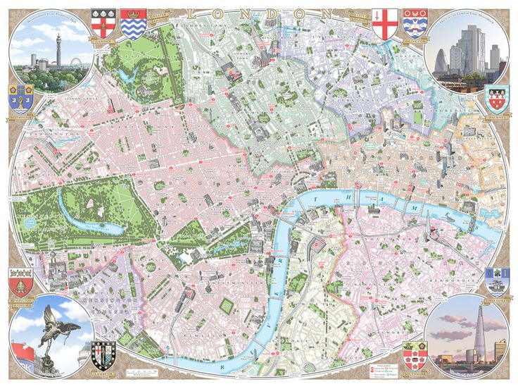 central london 48 x 33 cm illustrated map print by thisismikehall