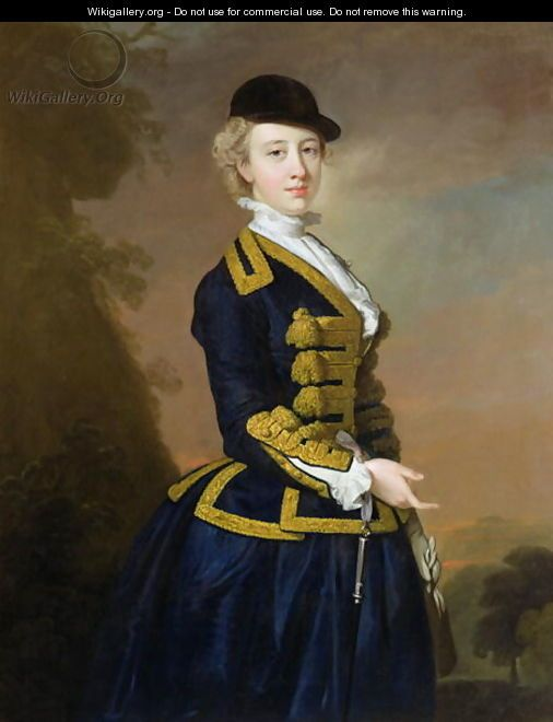 Portrait of Nancy Fortesque wearing a dark blue riding habit - Thomas Hudson