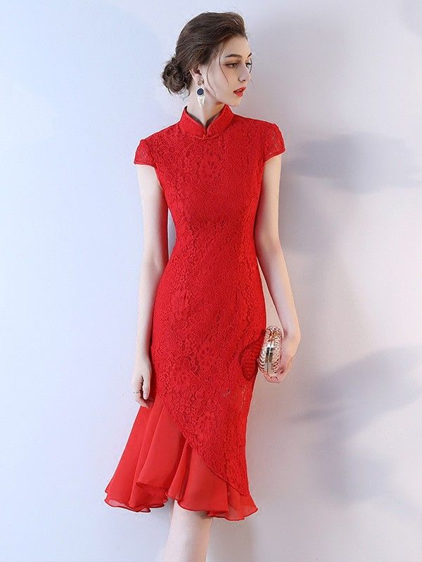 Red Lace Frill Hem Qipao / Cheongsam Wedding Dress