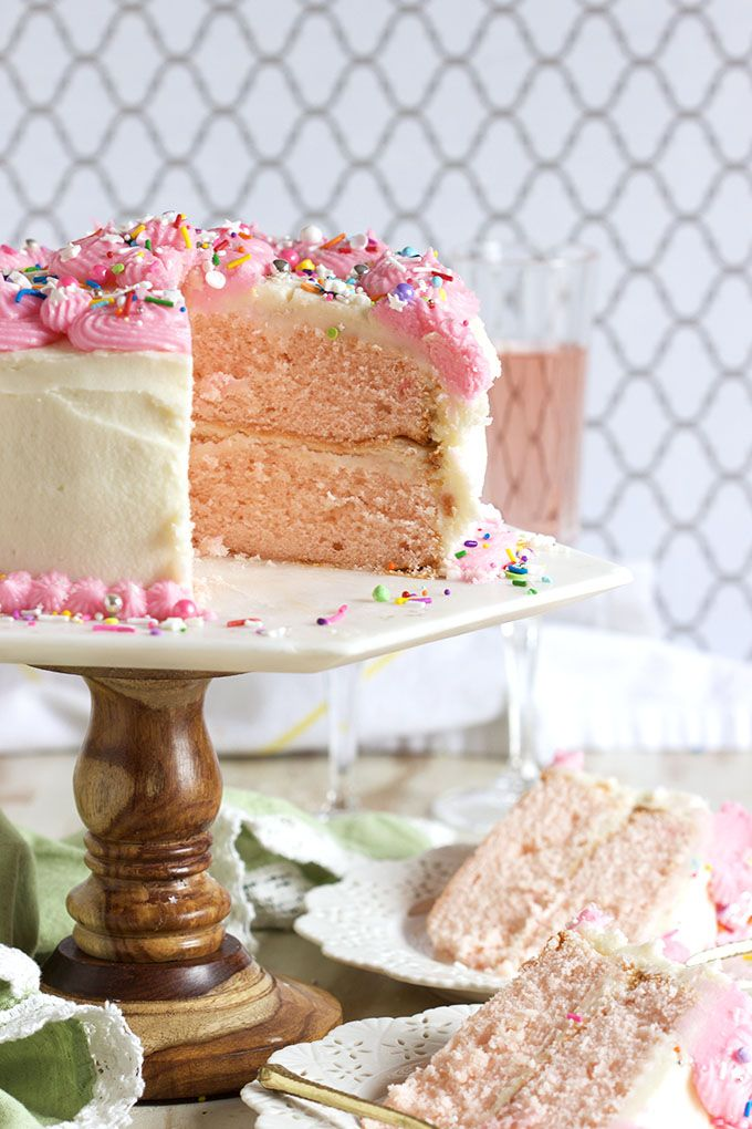 Easy to make and perfect for every occasion, this Pink Champagne Cake recipe is topped with Pink Champagne Buttercream frosting for the best celebration cake around.   @suburbansoapbox @kitchenaidusa #ad