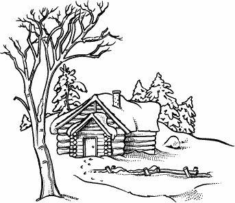 Log Cabin Scene M138 stamps Wood burning patterns