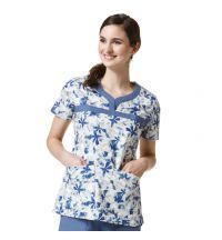 6278 Blue Aire WonderFLEX Curved Notch-Neck Print Top