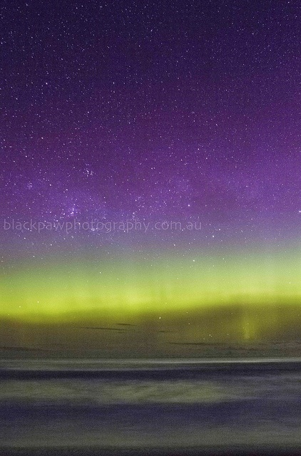 Southern lights Aurora Australis - Goats Beach, Tasmania, Australia