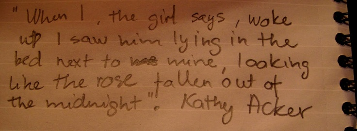 Kathy Acker quote (my handwriting)