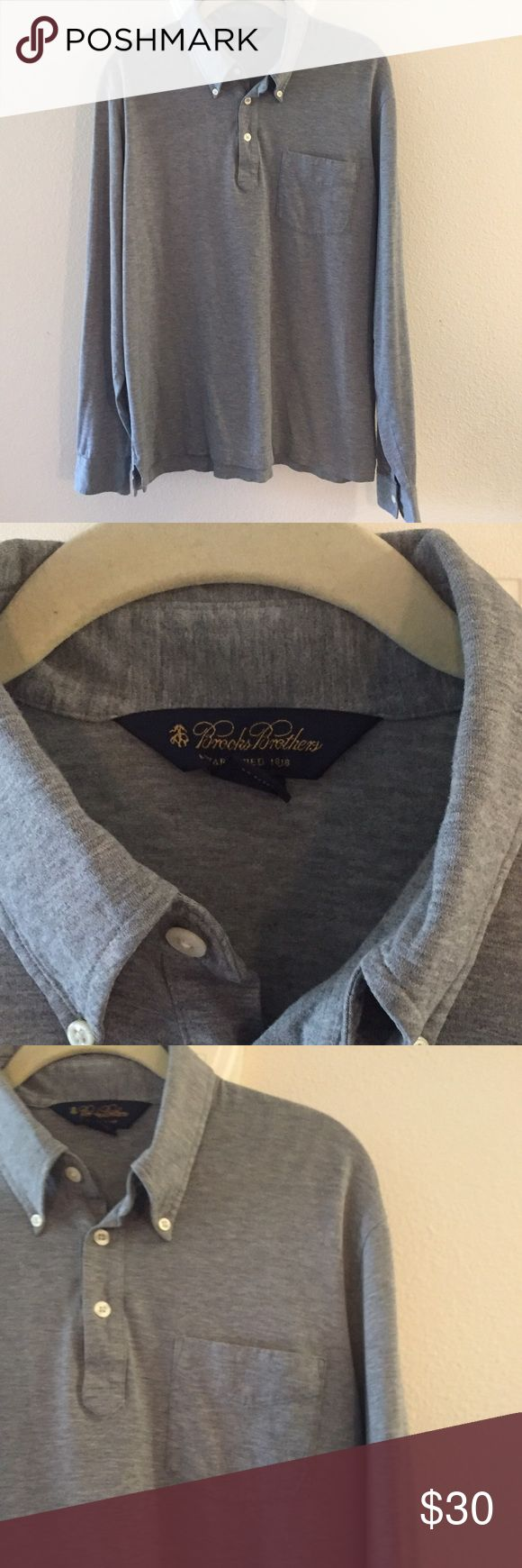 Brooks Brothers Gray Long Sleeved Polo Excellent condition Brooks Brothers gray long sleeve polo with Button Down collar.  Size medium.  Brooks Brothers Shirts Polos