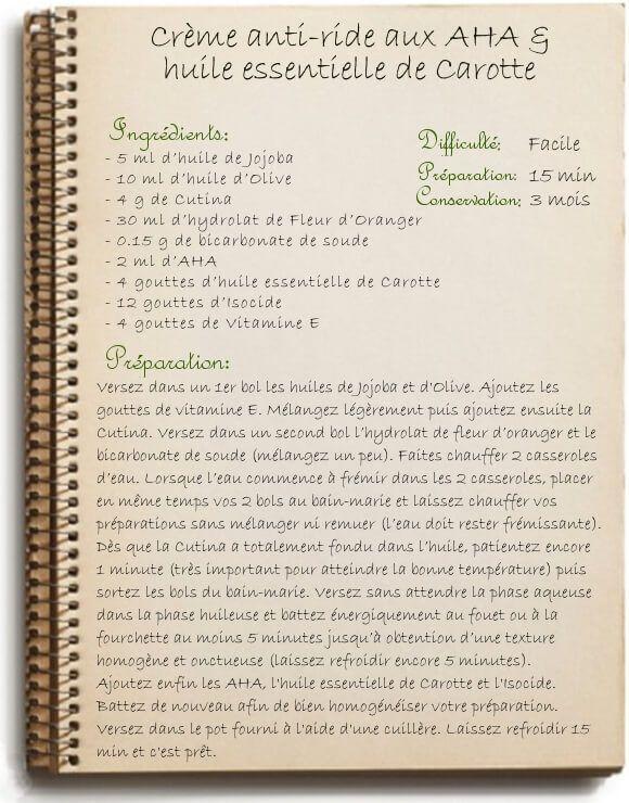 recette de cr me antirides maison au aha et huile d 39 olive peau mixte creme anti ride aux aha. Black Bedroom Furniture Sets. Home Design Ideas