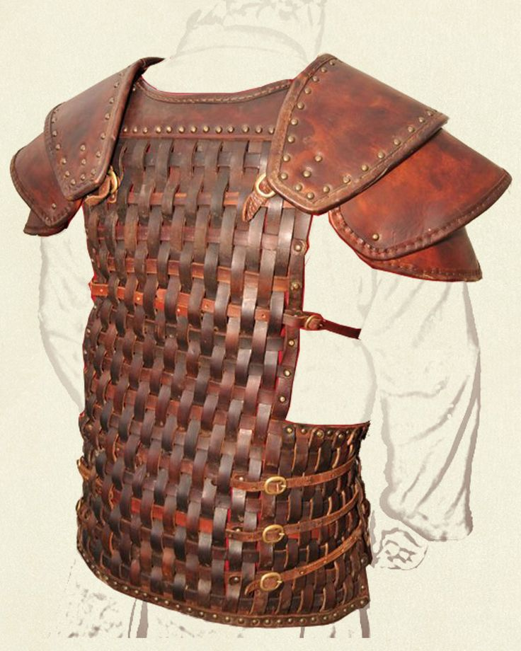 Woven Armour  This is an example of custom woven armour. Each piece of 4mm thick vegetable tanned leather was individually hand dyed, moulded, woven and secured into place with solid brass rivets.