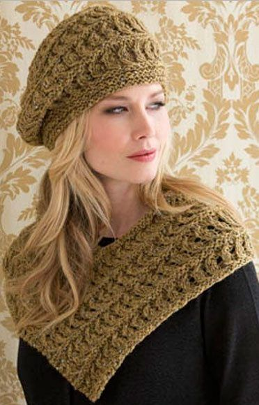 Knitting Pattern for Madeleine Cowl and Beret Set - Matching lace hat and shoulder cozy cowl. Quick knit in bulky yarn.