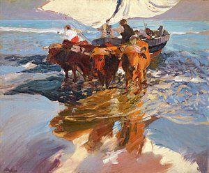 Joaquin Sorolla 1863 - 1923 Spanish Vuelta De La Pesca. Playa De Valencia The Return From Fishing, Art Print by Artistic Rifki