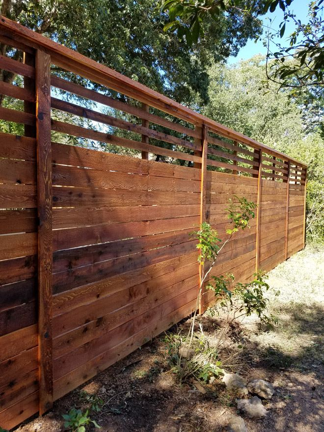 8 Foot Custom Horizontal Fence With Slat Top Stained