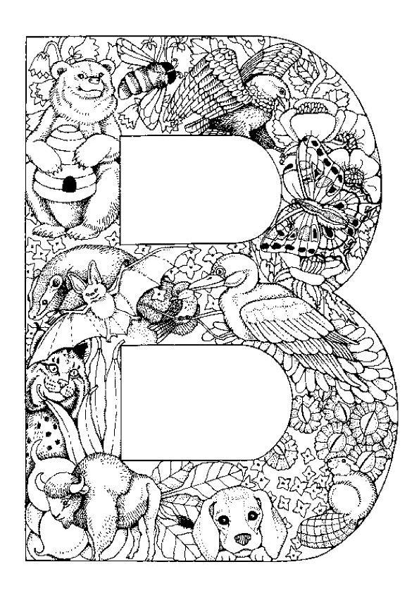 Un dessin très détaillé d'animaux et de végétation dans la lettre B, à colorier