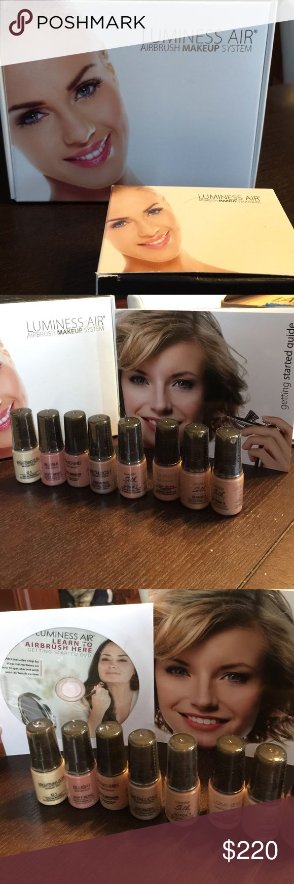 Luminess Air - Airbrush Makeup System and makeup The Airbrush System, Getting Started Guide & DVD, Starter Kit Ultra - Warm Luminess Shade 4, 5, 6 and 7. Luminess Xout cover up, Minus-10 instant skin smoother, primer moisturizer concealer foundation shade 7, M1-primer, G1-brightening glow, soft rose blush, matte bronzer, metallic bronzer Luminess Makeup Brushes & Tools