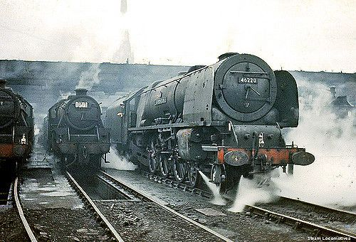 "https://flic.kr/p/651SGL | LMS Princess Coronation Steam Train : No . 46220 "" Coronation "" : Crewe North : Cheshire : England : 17 / 06 / 61 : By Tony Gillett : 
