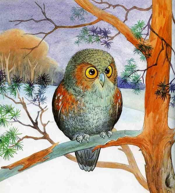 рисунок сова на ветке дерева щит железный