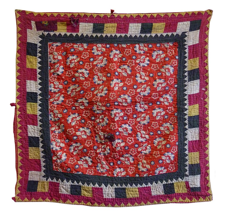 A ralli is a piece constructed and quilted cloth made from layers of discarded cloth and configured into a multitude of traditional patterns.    Rallis   hail from Sindh, Pakistan, a southern area that is contiguous to the   Indian states of Punjab, Rajasthan and Gujarat, where some of these   quilts are also sewn. Lines and lines of running stitch  secure and   strengthen the layers of cloth that make a ralli.