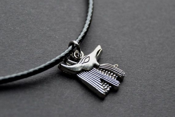 #anubis #egypt #egyptianjewelry #handmadejewelry #etsyseller #etsyshop #smallbusiness #etsy #jackal #choker #necklace #god #leather #silver #waxedcord #black #chain