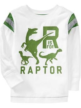 Flocked Dinosaur Tees for Baby | Old Navy - seriously? they only have these for babies??? 'cause i would rock the fuck out of this shirt...