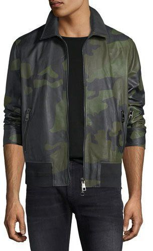 Neil Barrett Camo Lamb Leather Bomber Jacket
