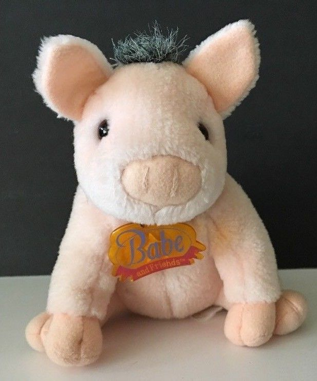 """Babe the Pig Plush Toy Factory 6"""" B20 Light Pink Hard Plastic Tag around Neck #ToyFactory"""