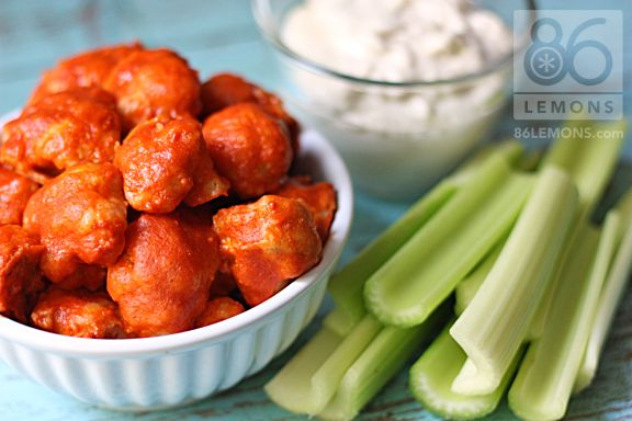 Vegan Buffalo Bites made with cauliflower florets.  I mean, this is pure genius.