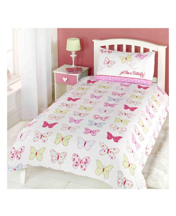 This Butterfly Single Duvet Cover and Pillowcase Set is perfect for little girlie girls. The design features a collection of pretty butterflies and flowers on a white background with the words 'Fly up high, just like a butterfly' on the pillowcase.