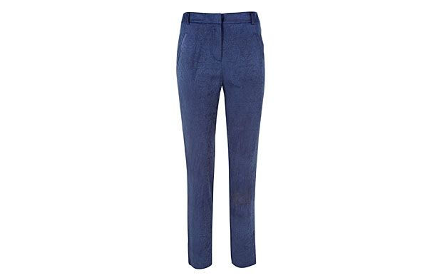 """Solid Drape Trouser. """"Whether you're headed for a morning meeting or a night on the town, these sophisitcated, draped navy trousers are proof that less is more."""""""