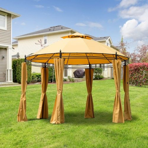 Outsunny 11' Patio Gazebo Canopy w/ Curtains - Orange