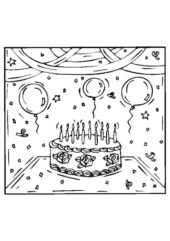 A colorier, le gâteau pour son 10ème anniversaire