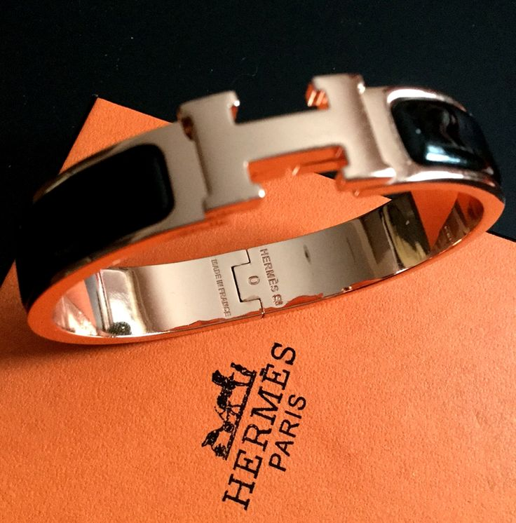 NEW #HERMES Clic Clac H Bangle Bracelet ROSE GOLD Black Enamel Signature  Hallmark FAB!